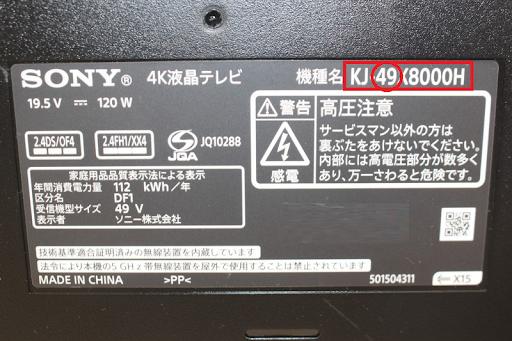 テレビのインチ数